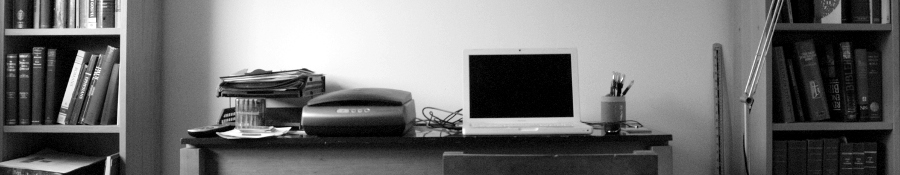 Photo of office desk in mono